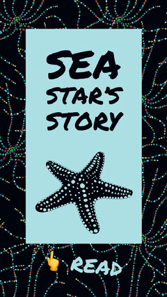 Black and Cyan Sea Star Instagram Story Graphic Fish