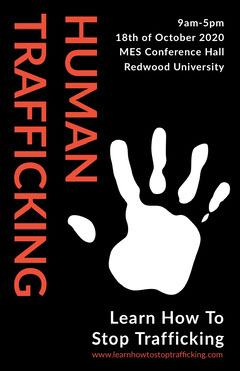 Black and Orange Stop Human Trafficking Poster with Hand Campaign