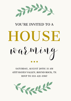 Green and Gold Housewarming Party Invitation Card Gold
