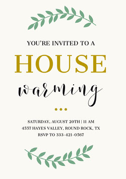 Green and Gold Housewarming Party Invitation Card Housewarming Invitation