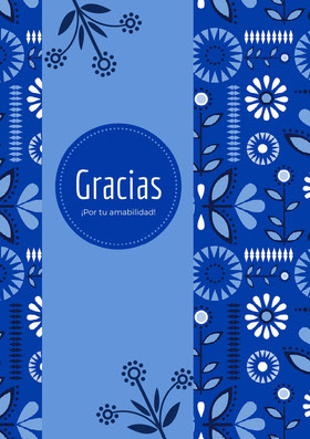 blue and white floral thank you cards  Tarjeta de agradecimiento