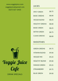Green Vegetable Juice and Smoothie Cafe Menu 메뉴판