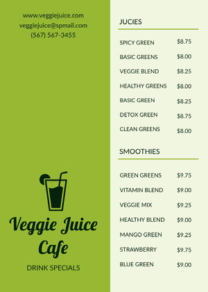 Green Vegetable Juice and Smoothie Cafe Menu Menü