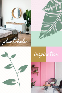 Illustrated Houseplant Mood Board Pinterest Graphic Plants