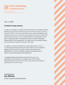 Orange Striped Recommendation Letter Lettera