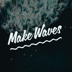 dark blue and white make waves quote instagram  Water