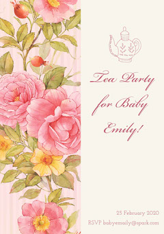 Grey and Flowered Pattern Tea Party Invitation Baby Shower (Girl)
