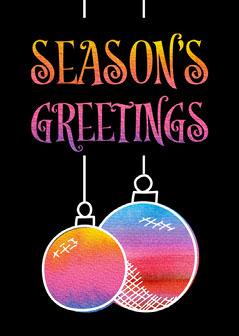Christmas Bubbles Season's Greetings Card Portrait Christmas Invitation