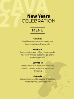 Yellow and Black New Years Celebration Card Dinner Menu