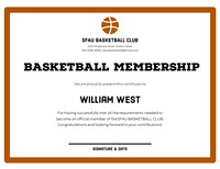 Brown Basketball Club Membership Certificate with Ball Basketball