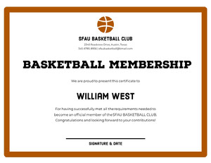 Brown Basketball Club Membership Certificate with Ball Certificato di diploma