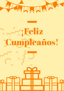 orange and light yellow birthday cards  Tarjeta de cumpleaños
