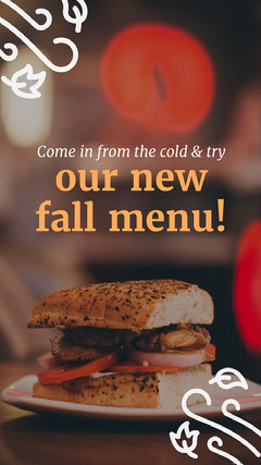 Autumn New Restaurant Menu Instagram Story Ad with Burger Photo Burger