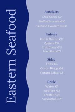 seafood menu Fish