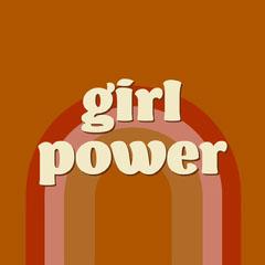 Brown Retro Funky Girl Power Instagram Square Groovy