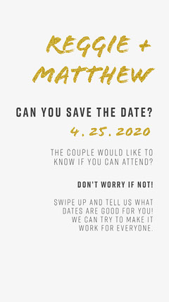 Gold and White Wedding Pick a Date Gold