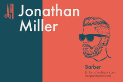 Red and Navy Blue Business Card Barber