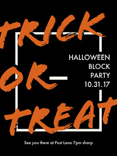 Black, Orange and White Halloween Party Poster  Block Party Flyer