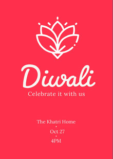 Red and White, Minimalistic Diwali Invitation Card Tarjetas