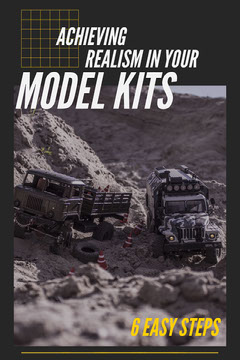 Model Kit Guide Pinterest Graphic with Trucks in Desert Desert