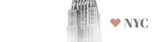White and Gray Minimalist I Love New York City Horizontal Banner with Skyscraper City