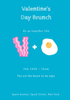 Bacon and Eggs Valentines Day Invitation Brunch