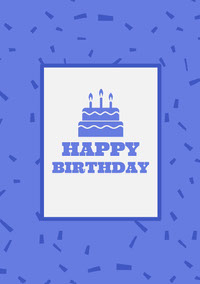Blue Happy Birthday Card with Cake and Confetti Kort