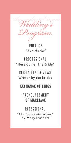 pink border lgbt wedding program Frame