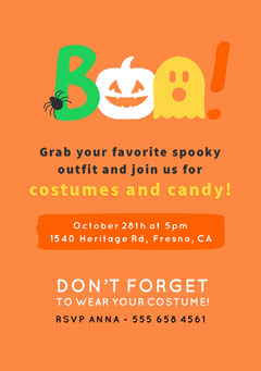 Boo Costume Halloween Party Invitation Halloween Party Invitation