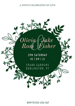 Green and White Ceremony Invitation Rustic Wedding Invitation