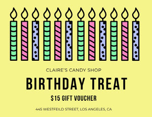 Yellow Candy Shop Birthday Coupon Coupon
