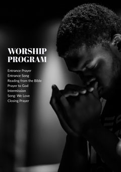 Black and White Worship Program Flyer Religion
