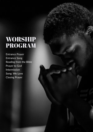 Black and White Worship Program Flyer Volantino religioso