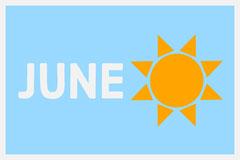 Blue June Sunshine Flashcard Sun