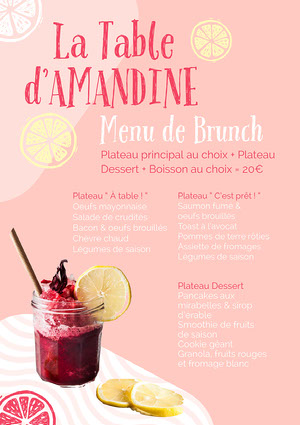 Pink Smoothie And Lemons Brunch Menu  Menu