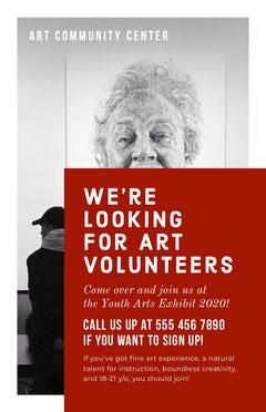 White and Claret Art Volunteers Poster Volunteer