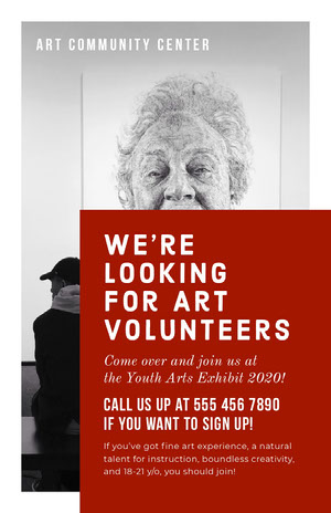 White and Claret Art Volunteers Poster Kunstplakat