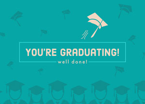 Blue Illustrated Congratulations on Graduation Card Glückwunschkarte