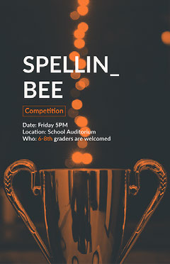 Black, WHite and Orange Spelling Bee Contest Instagram Story Contest
