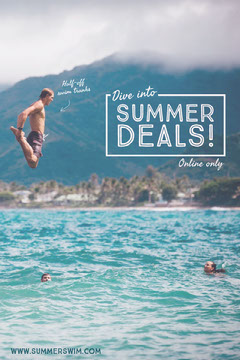 Summer Shop Sale Pinterest Ad with Man Diving into Water Deal