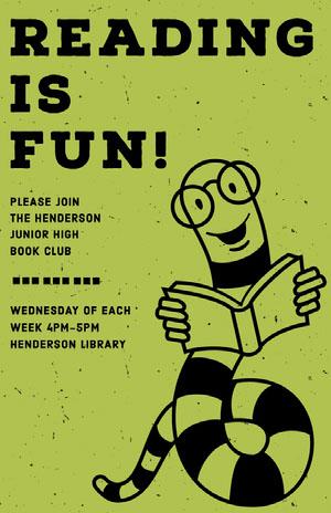 Green Illustrated Literature School Club Flyer Cartel para la Escuela