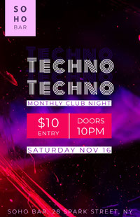Pink and White Techno Night Flyer Octavilla de club
