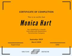 Orange Modern Internship Completion Certificate Construction