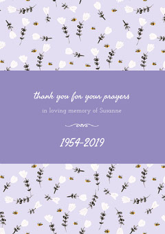 Violet and Flowered Pattern Thank You Card Funeral