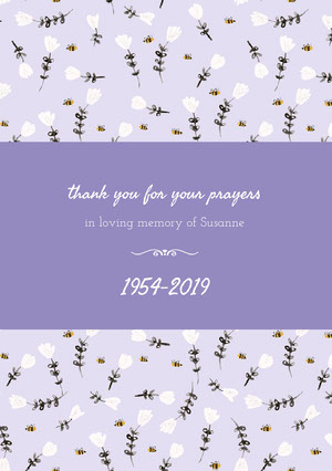 1954-2019 Funeral Thank You Card