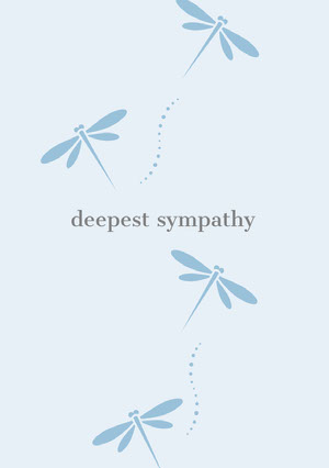 Blue Sympathy Card with Dragonflies Condoleancekaart