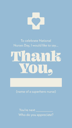 Light Blue National Nurses Day Fill in the Blank Interactive Instagram Story Superhero