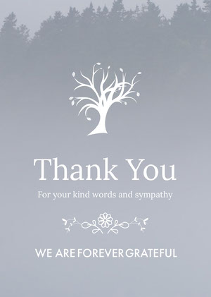Grey and White Thank You Card Sympatikort