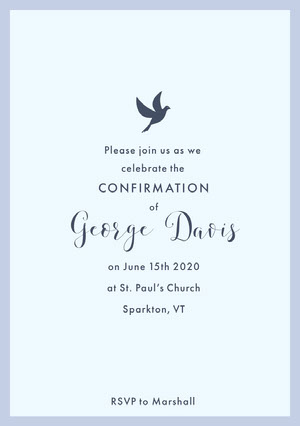 White and Blue Confirmation Card Confirmation Invitation