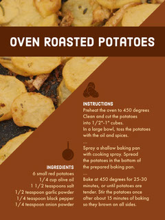 Brown Oven Roasted Potatoes Recipe Card Cooking